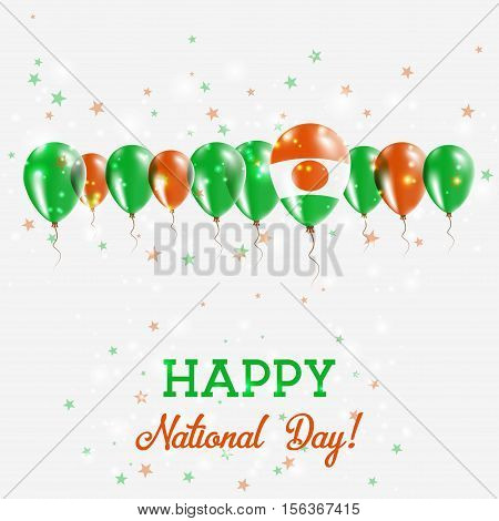 Niger Independence Day Sparkling Patriotic Poster. Happy Independence Day Card With Niger Flags, Con
