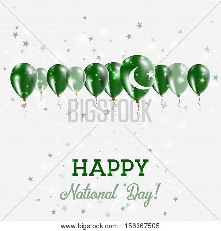 Pakistan Independence Day Sparkling Patriotic Poster. Happy Independence Day Card With Pakistan Flag