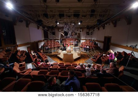 MOSCOW, RUSSIA - MAY 16, 2015: After media preview of play Turning into Listening Ear after novel by Ponizovsky in Sphere Moscow Drama theater