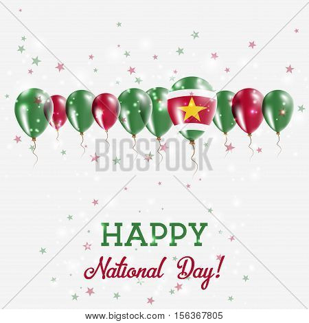 Suriname Independence Day Sparkling Patriotic Poster. Happy Independence Day Card With Suriname Flag