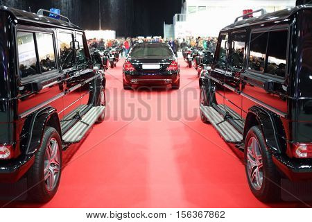 MOSCOW - MAR 07, 2016: Garage of special function at exhibition Oldtimer-Gallery in Sokolniki Exhibition Center. It is only one in Russia exhibition of vintage cars and technical antiques