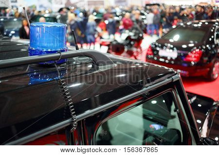 MOSCOW - MAR 07, 2016: Flasher on black car at exhibition Oldtimer-Gallery in Sokolniki Exhibition Center. It is only one in Russia exhibition of vintage cars and technical antiques