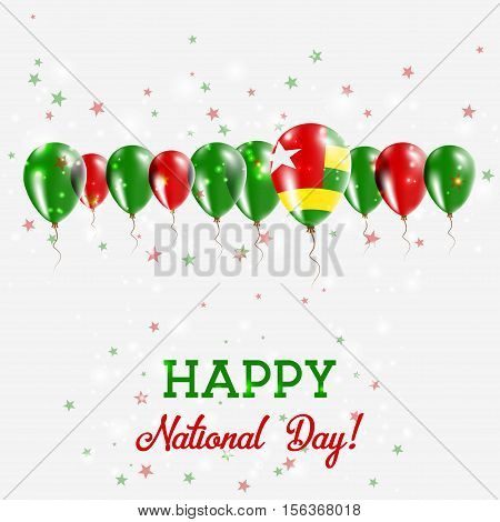 Togo Independence Day Sparkling Patriotic Poster. Happy Independence Day Card With Togo Flags, Confe