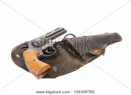 Vintage handgun on a holster isolated on white background