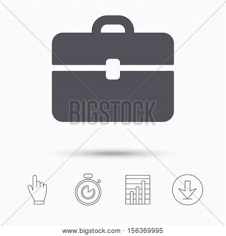 Briefcase icon. Diplomat handbag symbol. Business case sign. Stopwatch timer. Hand click, report chart and download arrow. Linear icons. Vector