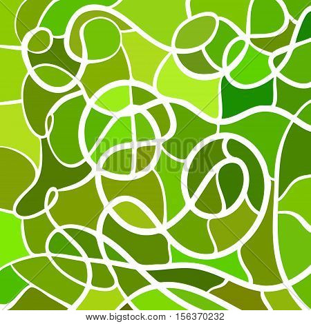 abstract vector stained-glass mosaic background- green and brown