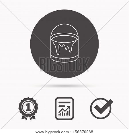 Bucket of paint icon. Painting box sign. Report document, winner award and tick. Round circle button with icon. Vector