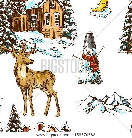 Hand drawn sketch seamless pattern christmas landscape with house, spruce and deer. Us for postcard, card, invitations and christmas decorations.
