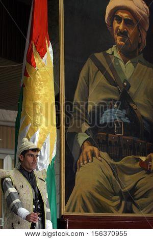 ARBIL,KURDISTAN-JANUARY 24 : Unidentified Kurdish soldier stands guard in Kurdistan Parliament on January 24, 2007 in Arbil, Iraq.