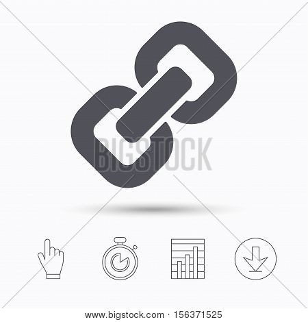 Chain icon. Internet web hyperlink symbol. Stopwatch timer. Hand click, report chart and download arrow. Linear icons. Vector