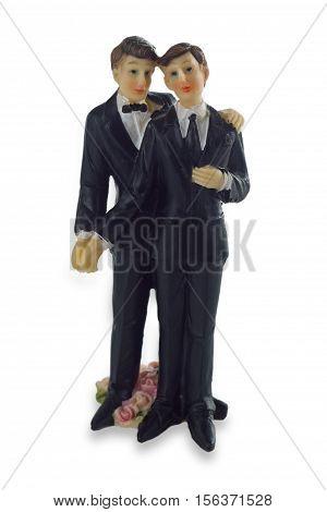 Wedding Cake Figurine Isolated on white Background.