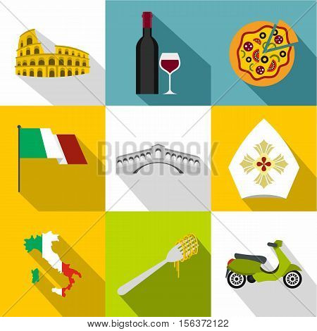 Tourism in Italy icons set. Flat illustration of 9 tourism in Italy vector icons for web