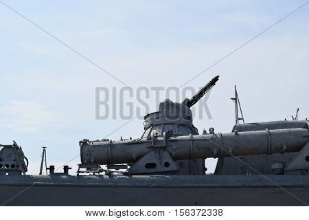 Part Of The Deck Of A Warship. Communication Devices And Deck Guns.