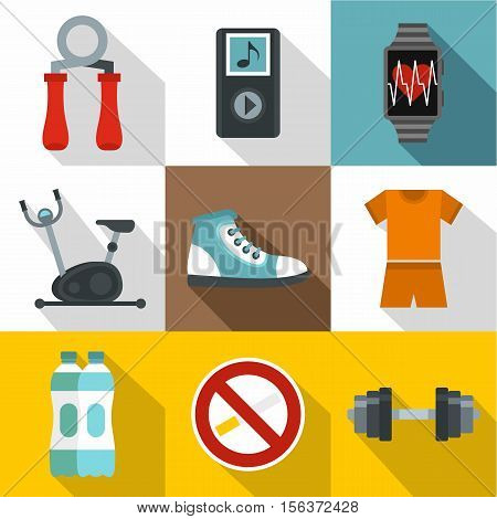 Classes in gym icons set. Flat illustration of 9 classes in gym vector icons for web