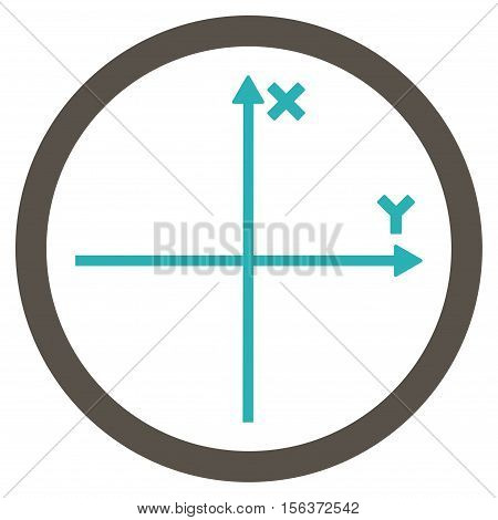 Cartesian Axis vector bicolor rounded icon. Image style is a flat icon symbol inside a circle, grey and cyan colors, white background.