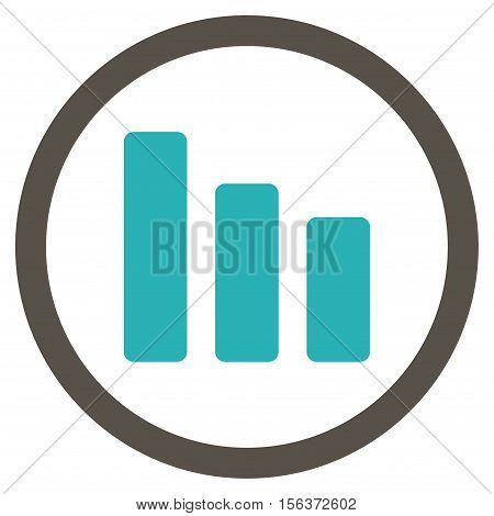 Bar Chart Decrease vector bicolor rounded icon. Image style is a flat icon symbol inside a circle, grey and cyan colors, white background.