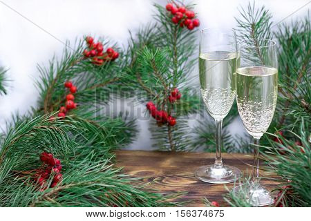 Christmas Seasonal Set With Champaign, Pine Branches, Red Berries