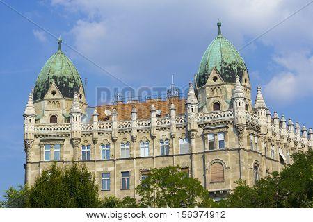 Interesting medieval building near the Soviet War Memorial at Szabadsag Ter in Budapest Hungary