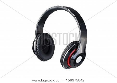 Wireless black headphones 3/4 view isolated on white background