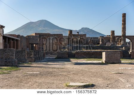 Ruins of Pompeii the ancient Roman city destroyed during a catastrophic eruption of the volcano Mount Vesuvius in 79 AD
