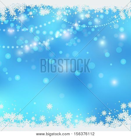 Christmas and New Year blue blurry vector background with stars, snowflakes and light effects