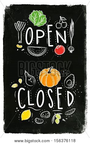 Eco signboard in eco style decorated by fruits and vegetables lettering open and close drawing with chalk and color on chalkboard background