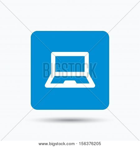 Computer icon. Notebook or laptop pc symbol. Blue square button with flat web icon. Vector