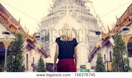Woman Caucasian Traveler Tour Temple Concept