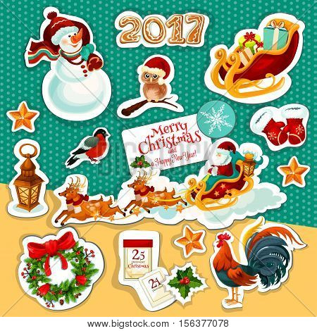 Christmas and New Year holiday sticker set with Santa Claus in sleigh with deer, gift, holly and pine wreath, snowman, star, snowflake, gingerbread, santas glove, owl, calendar, rooster, bullfinch