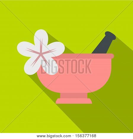 Mortar and pestle icon. Flat illustration of mortar and pestl vector icon for web design