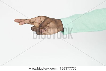 Human Hand Sign Body Language Finger Crossed Concept