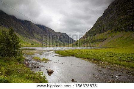 Loch Achtriochtan and Aonach Eagh Ridge Glencoe Scotland