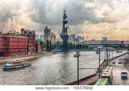 View Over Moskva River And Peter The Great Statue, Moscow