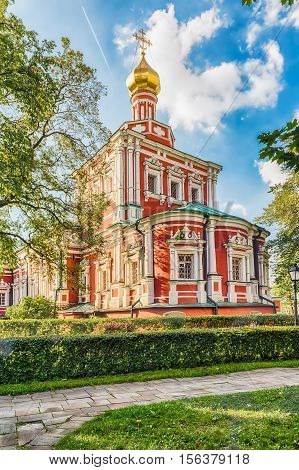 Orthodox Church Inside Novodevichy Convent, Iconic Landmark In Moscow, Russia