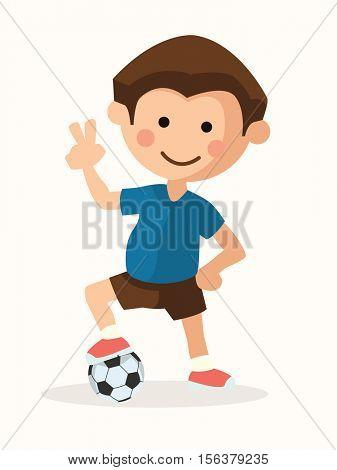 Football player winner posing kid flat vector illustration