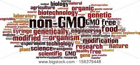 Non-GMO word cloud concept. Vector illustration on white