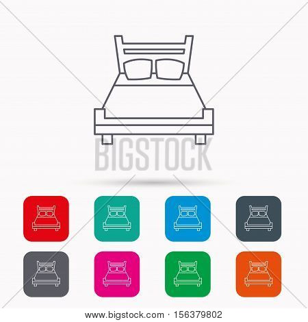 Double bed icon. Sleep symbol. Linear icons in squares on white background. Flat web symbols. Vector