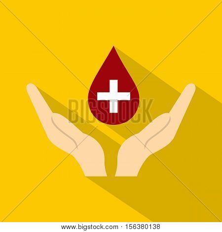 Hands holding blood drop icon. Flat illustration of hands holding blood drop vector icon for web design