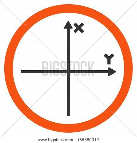 Cartesian Axis vector bicolor rounded icon. Image style is a flat icon symbol inside a circle, orange and gray colors, white background.
