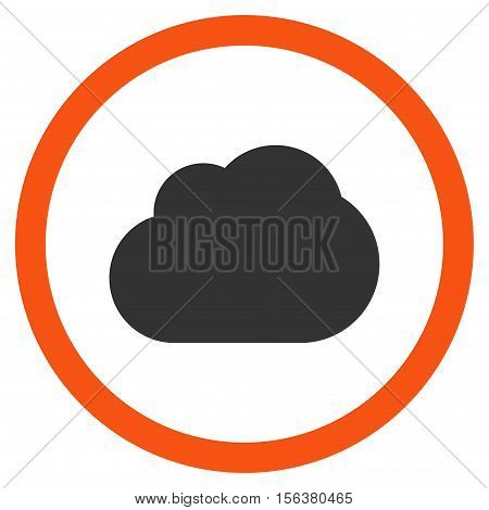 Cloud vector bicolor rounded icon. Image style is a flat icon symbol inside a circle, orange and gray colors, white background.