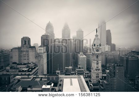Philadelphia city rooftop view with urban skyscrapers.