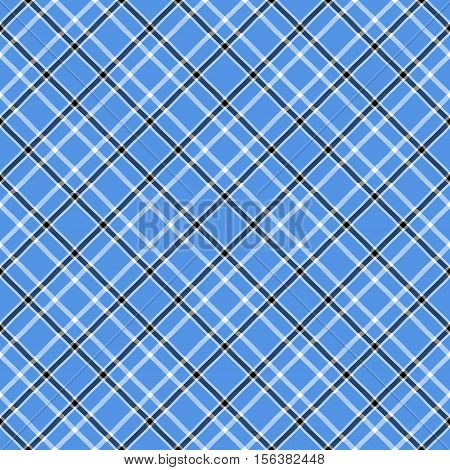 Seamless tartan plaid pattern in white & black stripes on blue background. Traditional checkered design print. Plaid fabric texture background.