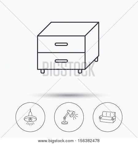 Sofa, table lamp and nightstand icons. Ceiling lamp linear sign. Linear icons in circle buttons. Flat web symbols. Vector
