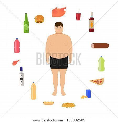 Vector illustration cartoon fat man and unhealthy food. Boy and harmful, junk nutrition. Concept of human unhealthy lifestyle, male obesity. Flat style. Male body and alcohol, fatty fast food.