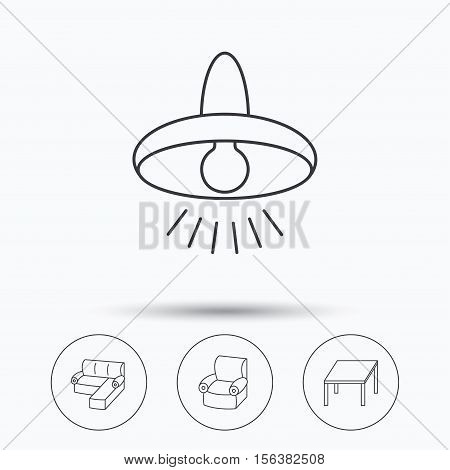 Corner sofa, table and armchair icons. Ceiling lamp linear signs. Linear icons in circle buttons. Flat web symbols. Vector
