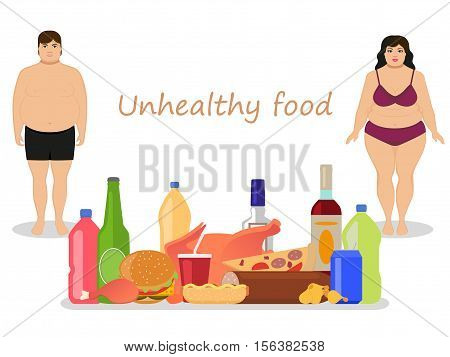 Vector illustration cartoon fat man and woman with harmful fatty nutrition. Concept female and male obesity. Unhealthy food. Flat style. People obese. Girl, boy and junk food, alcohol.