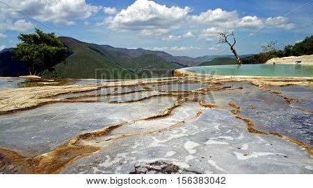 Calcified mineral puddles formed by water bubbling from springs at Hierve el Agua in Oaxaca Mexico
