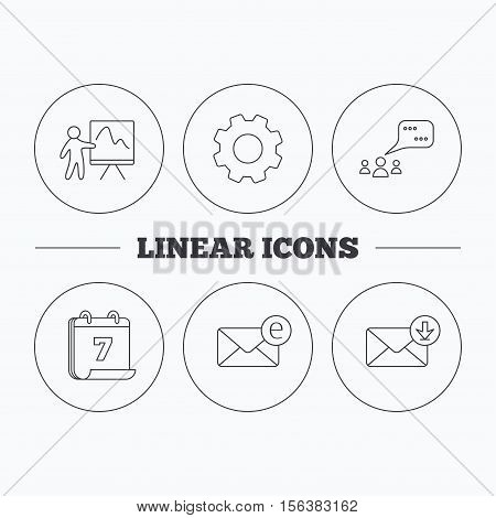 Mail, presentation and meeting chat bubbles icons. E-mail linear sign. Flat cogwheel and calendar symbols. Linear icons in circle buttons. Vector