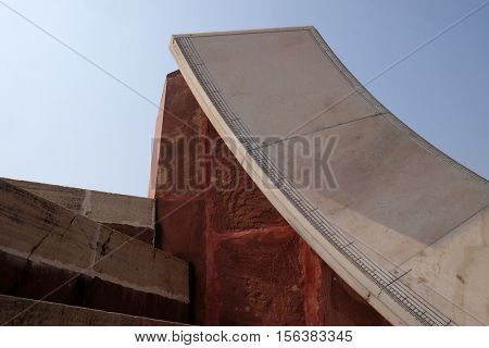JAIPUR, INDIA - FEBRUARY 16: Famous Observatory Jantar Mantar, a collection of huge astronomical instruments in Jaipur, India, Rajasthan, India on February 16, 2016.
