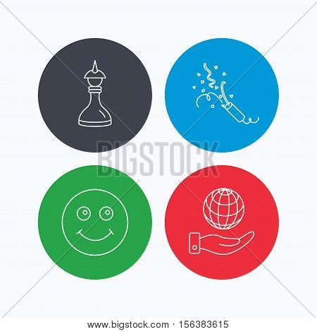 Save planet, slapstick and strategy icons. Smile linear sign. Linear icons on colored buttons. Flat web symbols. Vector